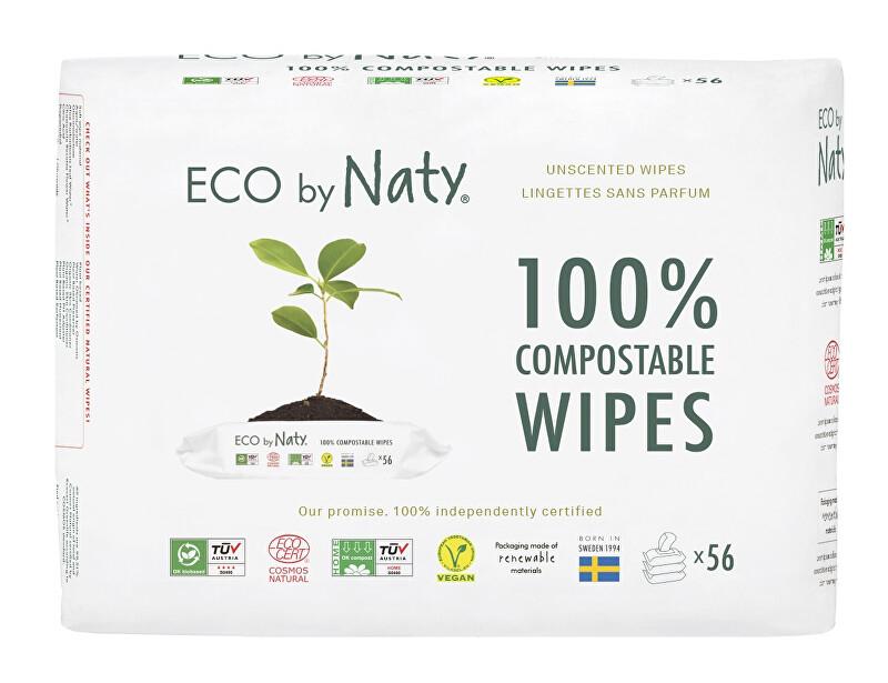 Eco by Naty Vlhčené ubrousky Naty bez vůně - pro citlivou pokožku - výhodné balení (3 x 56 ks)