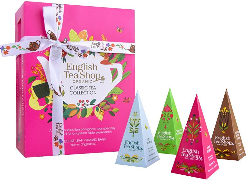 English Tea Shop Dárková kolekce CLASSIC PINK, 12 pyramidek sypaných čajů
