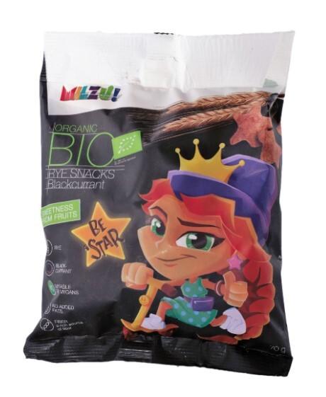 Zobrazit detail výrobku Milzu! BIO Křupavý snack - hvězdičky s černým rybízem 70 g
