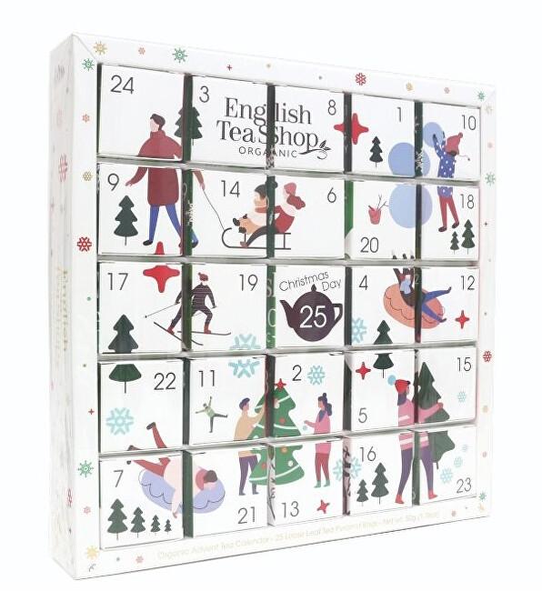 Bílý Adventní kalendář PUZZLE 25 pyramidek