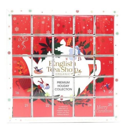 Zobrazit detail výrobku English Tea Shop Červený adventní kalendář PUZZLE 25 pyramidek