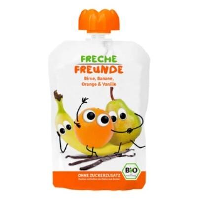 Zobrazit detail výrobku Freche Freunde BIO Ovocná kapsička Hruška, banán, pomeranč s vanilkou 100 g