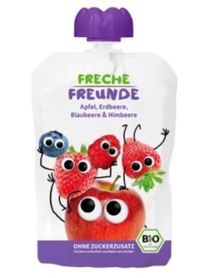 Zobrazit detail výrobku Freche Freunde BIO Ovocná kapsička Jablko, jahoda, borůvka a malina 100 g