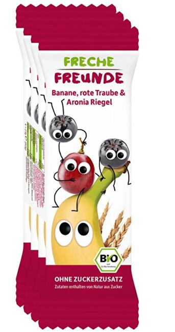Zobrazit detail výrobku Freche Freunde BIO Ovocná tyčinka - Banán, hroznové víno a černý jeřáb 4 x 23 g
