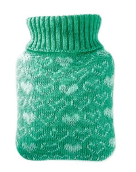 Zobrazit detail výrobku Hugo-Frosch Dětský termofor Classic MINI s pleteným obalem - srdíčka, zelený