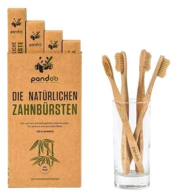 Zobrazit detail výrobku Pandoo Bambusové zubní kartáčky Medium Soft - výhodné balení 4 ks