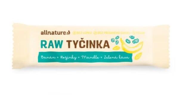 Zobrazit detail výrobku Allnature Bezlepková ovocná tyčinka rozinky, mandle, banán, zelená káva 20 x 45 g
