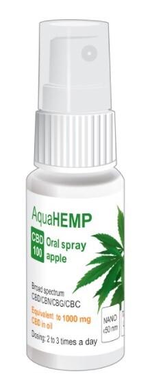 Zobrazit detail výrobku OVONEX AquaHEMP spray APPLE broad spectrum CBD 100 - 25 ml