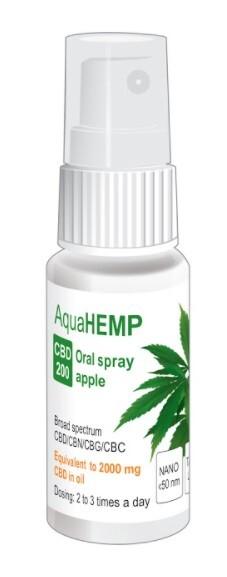 Zobrazit detail výrobku OVONEX AquaHEMP spray APPLE broad spectrum CBD 200 - 25 ml
