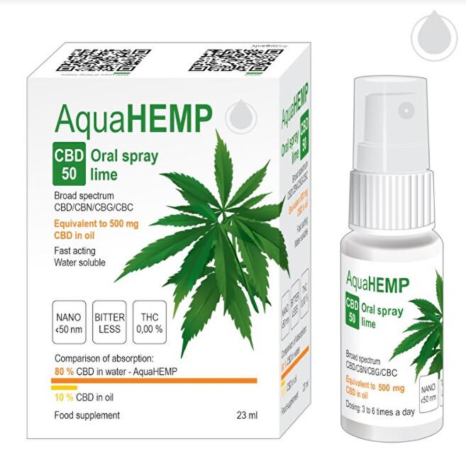 Zobrazit detail výrobku AquaHEMP AquaHEMP Spray LIME broad spectrum 25 ml CBD 50