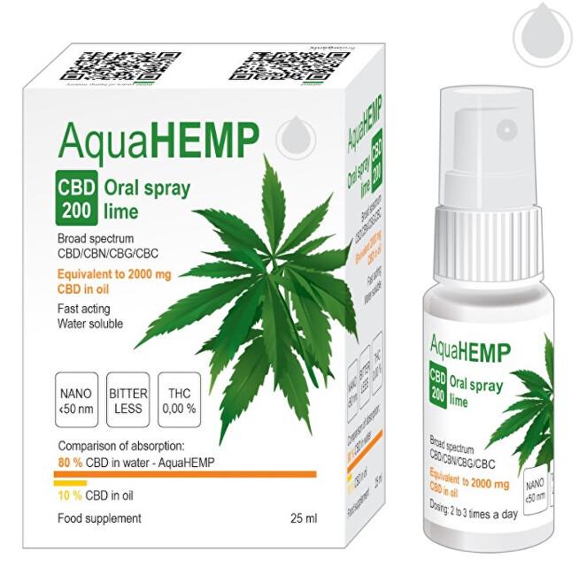 Zobrazit detail výrobku AquaHEMP AquaHEMP Spray LIME broad spectrum 25 ml CBD 200