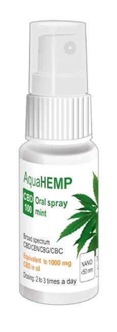 Zobrazit detail výrobku AquaHEMP AquaHEMP spray MINT broad spectrum CBD 100