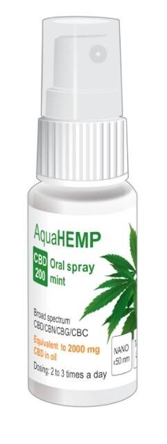 Zobrazit detail výrobku AquaHEMP AquaHEMP spray MINT broad spectrum CBD 200