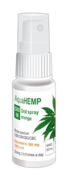Zobrazit detail výrobku AquaHEMP AquaHEMP spray ORANGE broad spectrum CBD 50 - 23 ml