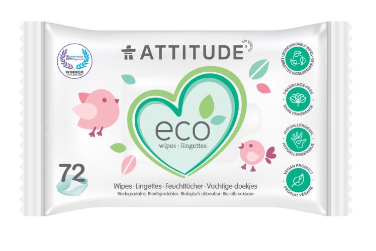 Zobrazit detail výrobku ATTITUDE Nature+ Vlhčené ubrousky bez vůně (72 ks)