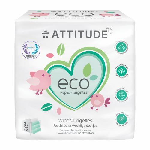 Zobrazit detail výrobku Attitude Vlhčené ubrousky bez vůně - výhodné balení (3 x 72 ks)