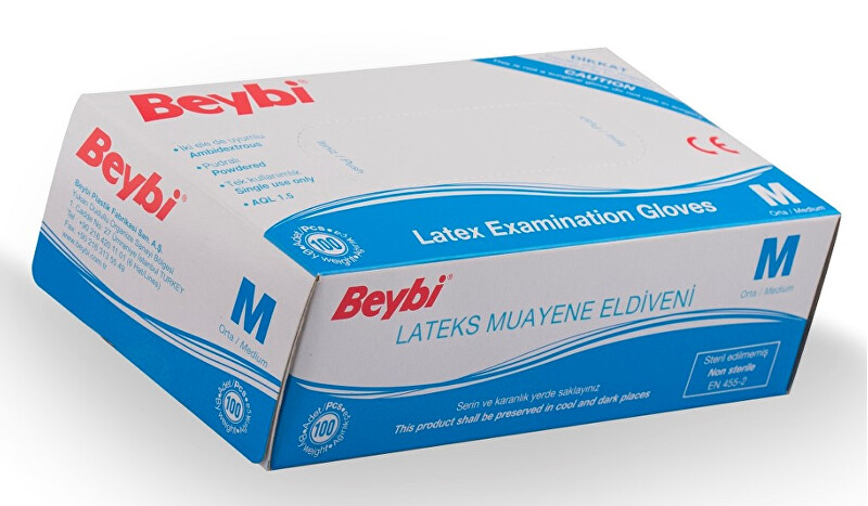 Beybi Rukavice latex M 100 ks
