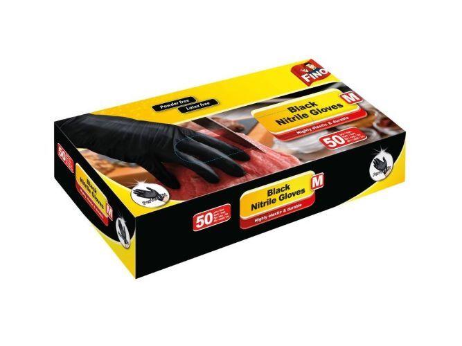 Fino Jednorázové nitrilové rukavice černé nepudrované, vel. M 50 ks