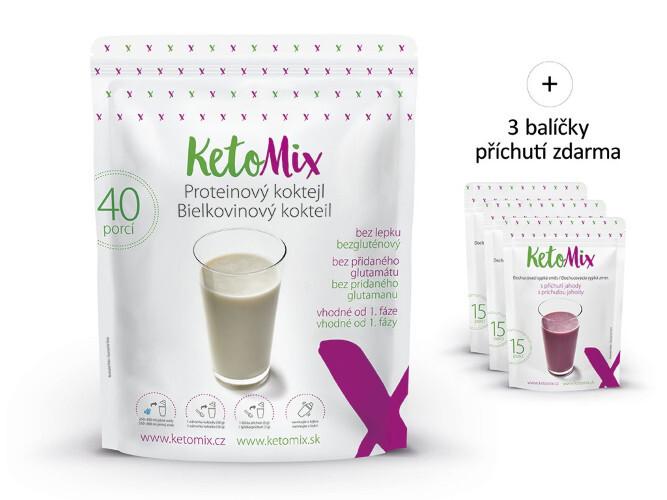 Zobrazit detail výrobku KetoMix Proteinový koktejl KetoMIX 1200 g (40 porcí) (čokoláda, vanilka a jahoda)