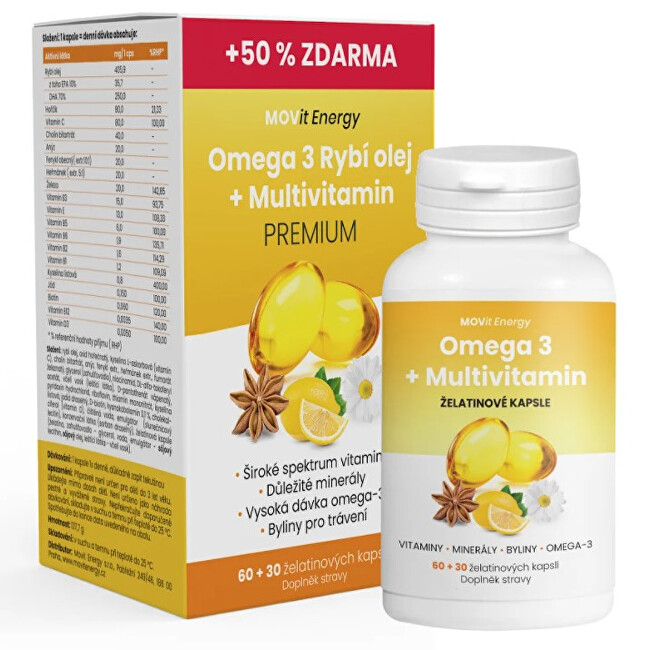 Zobrazit detail výrobku MOVit Energy Omega 3 Rybí Olej + Multivitamin Premium 60 + 30 tobolek