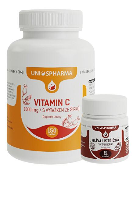 Zobrazit detail výrobku Unios Pharma Vitamín C 1000 mg se šípkem 150 tbl. + Hlíva 10 tbl. ZDARMA