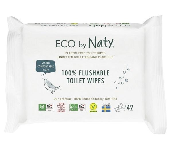 Eco by Naty ECO vlhčené splachovatelné ubrousky s funkcí toaletního papíru Naty bez vůně (42 ks)