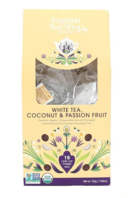 Zobrazit detail výrobku English Tea Shop Bílý čaj s kokosem a passion fruit 15 pyramidek sypaného čaje