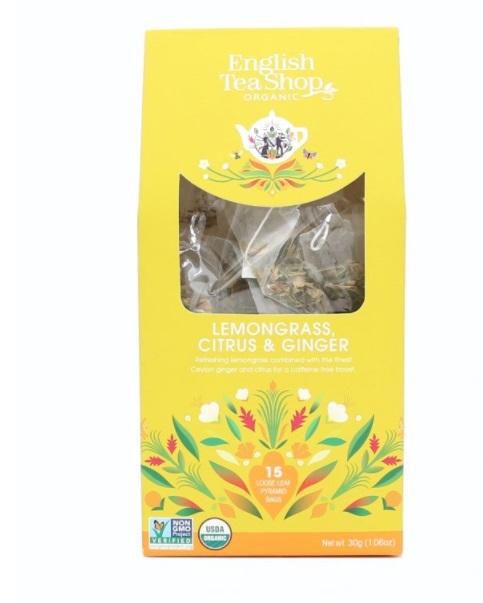 Zobrazit detail výrobku English Tea Shop Citrónová tráva, zázvor & citrusy 15 pyramidek sypaného čaje