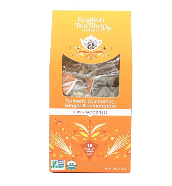 Zobrazit detail výrobku English Tea Shop Kurkuma, zázvor a citronová tráva 15 pyramidek sypaného čaje