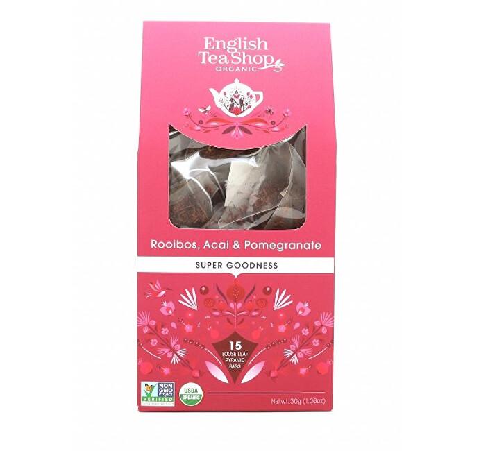 Zobrazit detail výrobku English Tea Shop Rooibos, ovoce acai a granátové jablko 15 pyramidek sypaného čaje