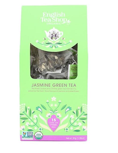 Zobrazit detail výrobku English Tea Shop Zelený čaj s jasmínem a bezinkou 15 pyramidek sypaného čaje