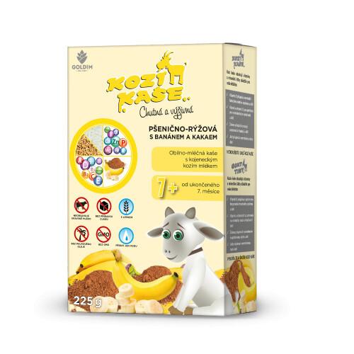 Zobrazit detail výrobku Goldim Kozí kaše pšenično-rýžová s banánem a kakaem 225 g