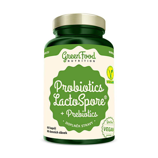 Zobrazit detail výrobku GreenFood Nutrition Probiotika LactoSpore® + Prebiotics 60 kapslí