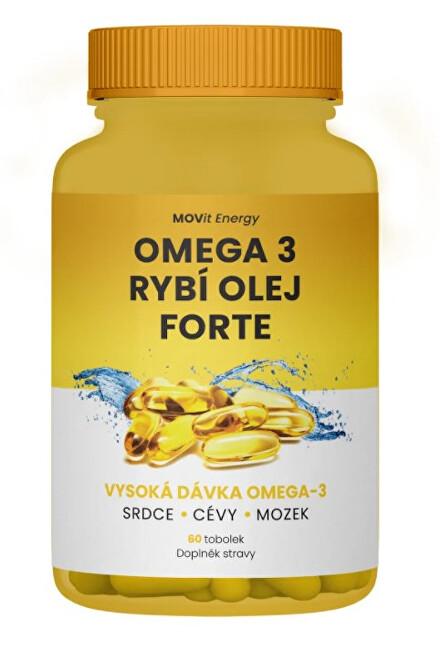 MOVit Omega 3 Rybí Olej FORTE, 315 mg EPA, 245 mg DHA, 60 tobolek
