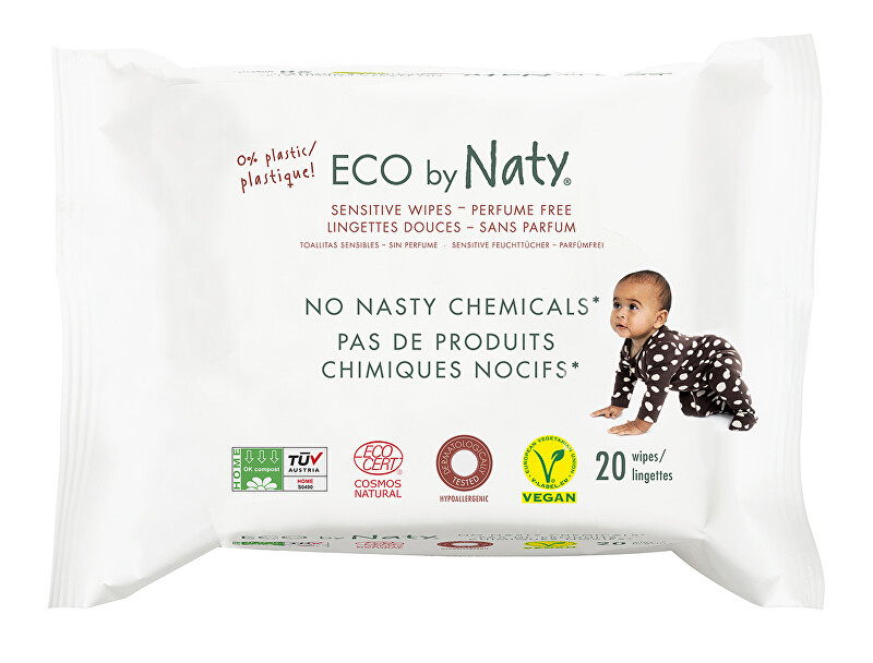 Zobrazit detail výrobku Eco by Naty Vlhčené ubrousky Naty bez vůně - pro citlivou pokožku (20 ks)
