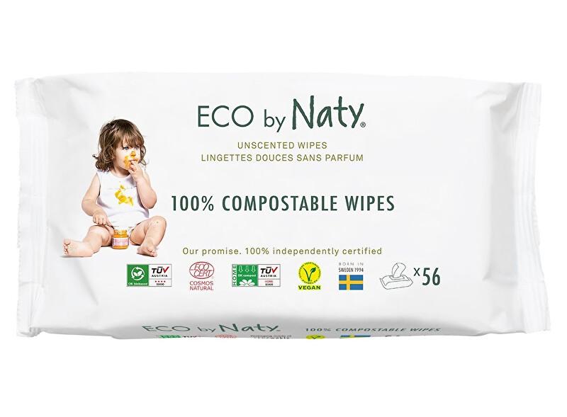 Zobrazit detail výrobku Eco by Naty Vlhčené ubrousky Naty bez vůně - pro citlivou pokožku (56 ks)