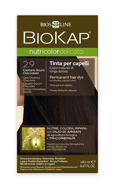 Zobrazit detail výrobku Biokap NUTRICOLOR DELICATO - Barva na vlasy - 2.90 Kaštanovo čokoládová tmavá 140 ml