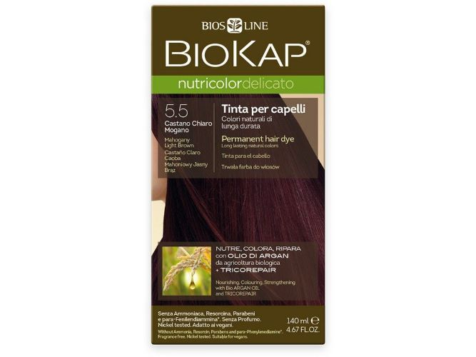 Zobrazit detail výrobku Biokap NUTRICOLOR DELICATO - Barva na vlasy - 5.50 Hnědá - světlý mahagon 140 ml