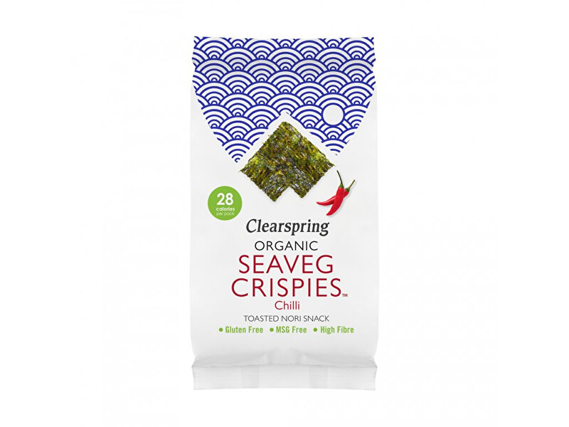 Clearspring Seaveg Crispies – Křupky z mořské řasy Nori s chilli BIO 4 g
