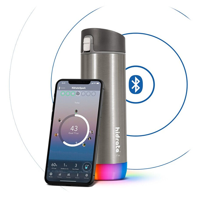 Zobrazit detail výrobku HidrateSpark Nerezová chytrá lahev 620 ml, Bluetooth tracker, nerezová