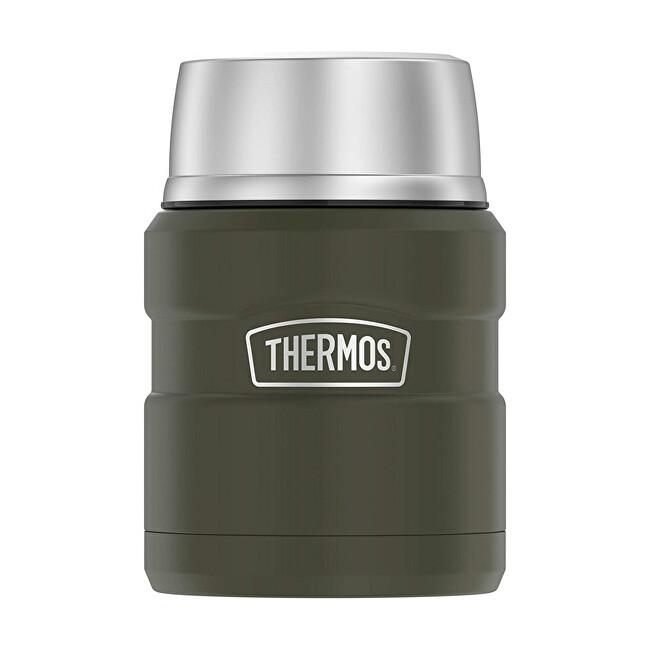 Zobrazit detail výrobku Thermos Termoska na jídlo se skládácí lžící a šálkem - vojenská zelená 470 ml