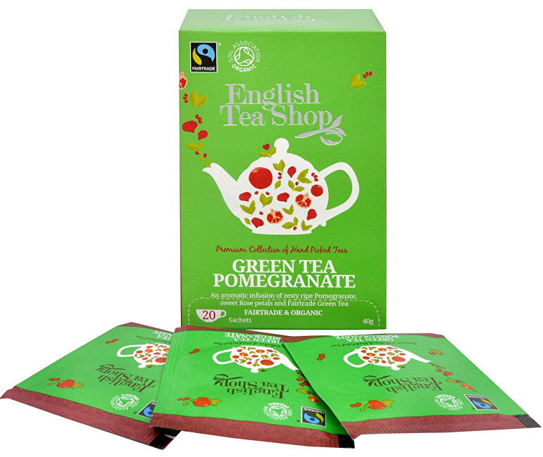 Zobrazit detail výrobku English Tea Shop Zelený čaj s granátovým jablkem 20 sáčků - SLEVA - POMAČKANÁ KRABIČKA