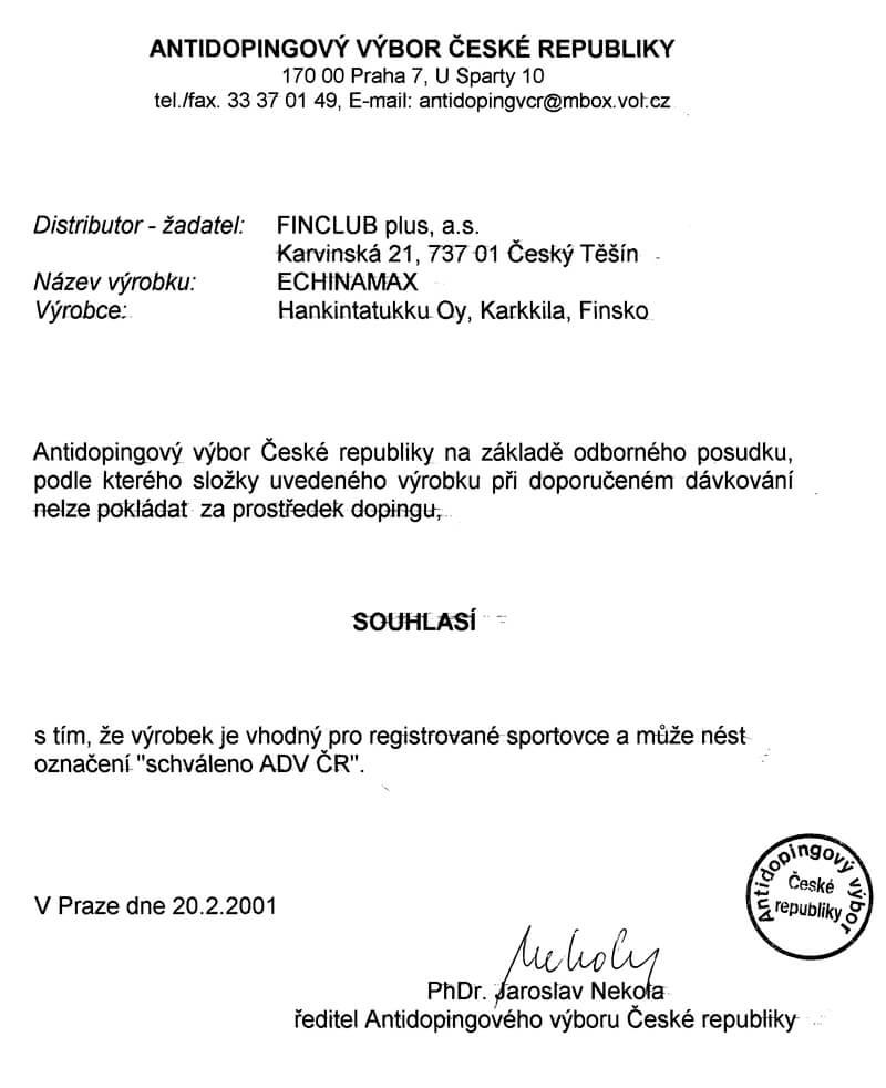 Schválení Antidopingovým výborem ČR