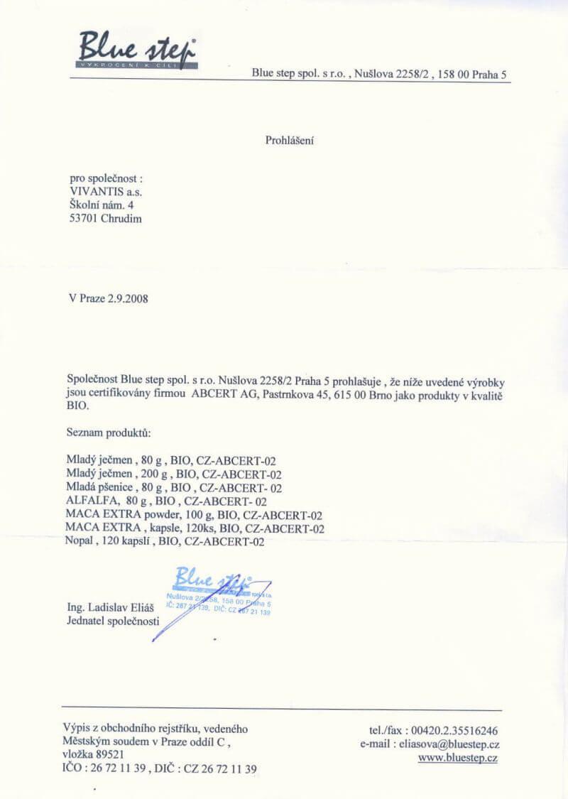 Certifikát ABCERT, Bio kvalita