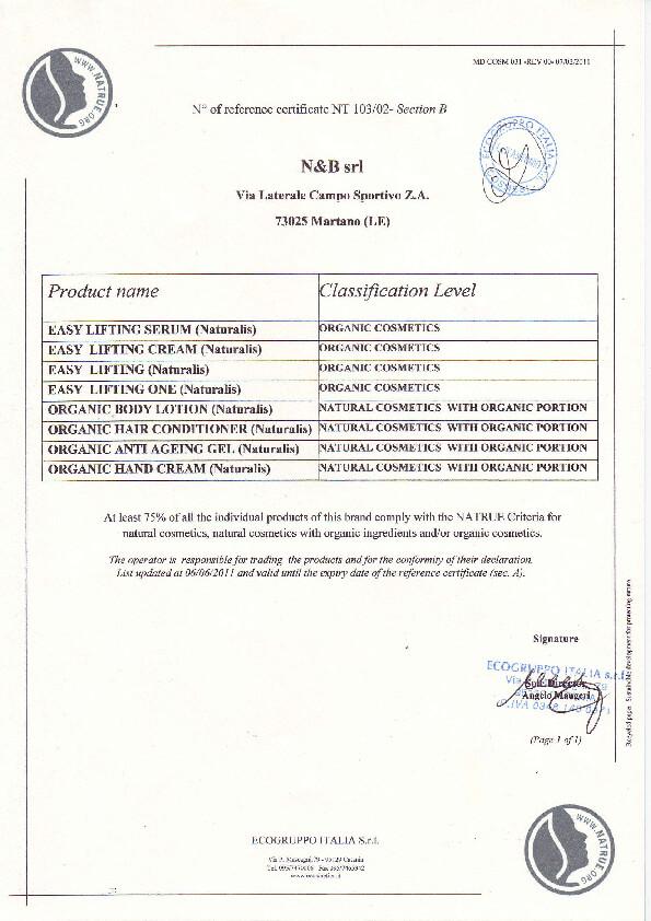 NaTrue Organic Certificate