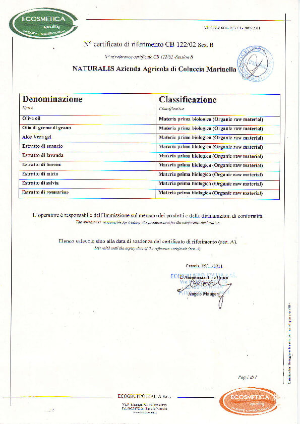 EcoGruppo Certificate - Organic Extracts