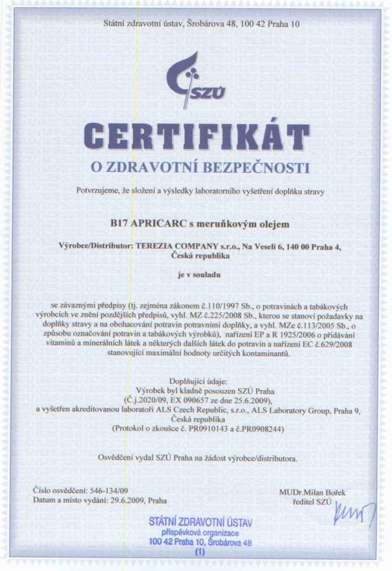 Certifikát o zdravotní bezpečnosti
