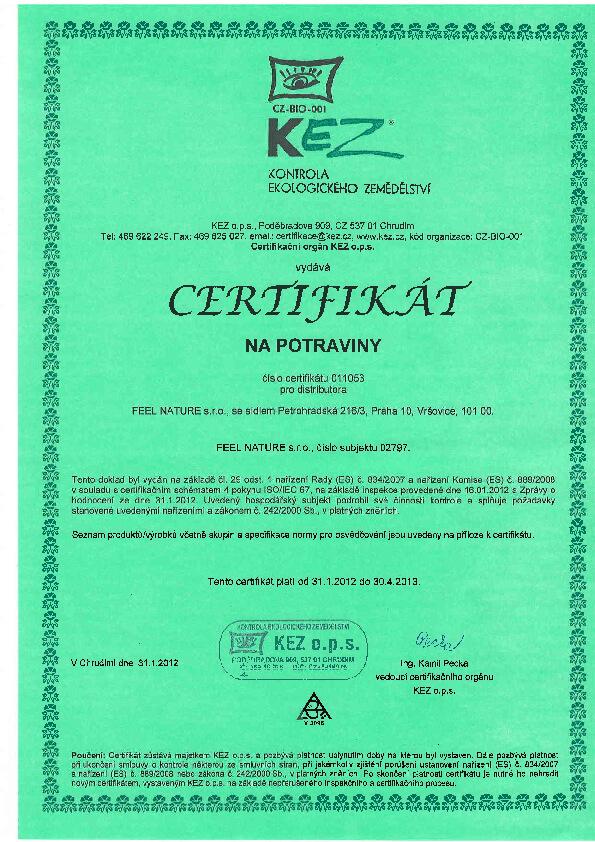 Certifikát KEZ - Kontrola ekologického zemědělství