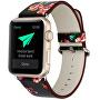 Kožený řemínek pro Apple Watch s motivem květin 42/44 mm