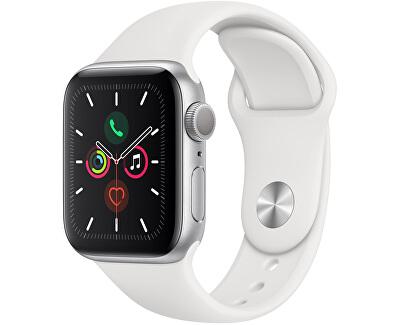 Watch Series 5 40mm stříbrný hliník s bílým sportovním řemínkem